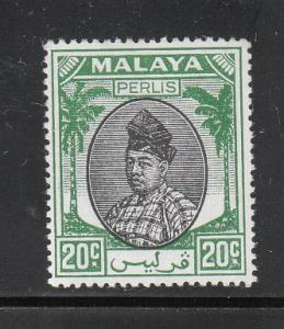 Malaya Perlis 1951 Sc 15 20c green&black MH