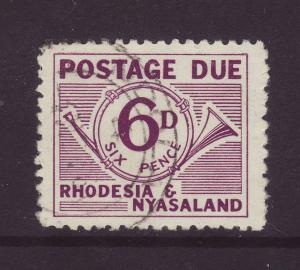 1961 Rhodesia & Nyasaland 6d Postage Due F/Used SGD4