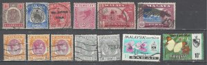 COLLECTION LOT # 2564 MALAYAN PROVINCES 13 STAMPS 1891+ CLEARANCE CV+$20