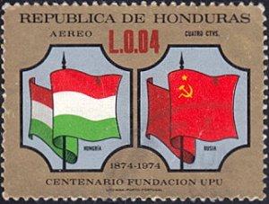 Honduras # C565 used ~ 4¢ Flags - Hungary and Russia