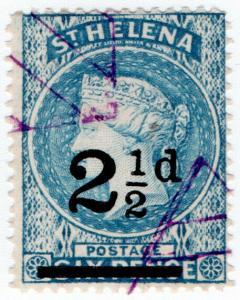 (I.B) St Helena Postal : 2½d on 6d Blue OP