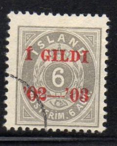 Iceland Sc 46 1902 6 aur overprinted stamp used