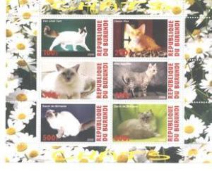 Burundi 2009 Cats Fauna Domestic Animals Mammals Fauna Pets M/S Stamps MNH (5)
