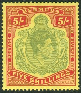 BERMUDA-1939 5/- Pale Green & Red/Yellow Perf 14. A lightly mounted mint Sg 118a