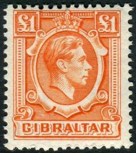 GIBRALTAR-1938 £1 Orange.  An unmounted mint example Sg 131