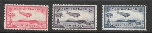 NEW ZEALAND #C6-C8 Mint Set Bi-plane Landing Field Air Mail Stamps 2017CV $18.35