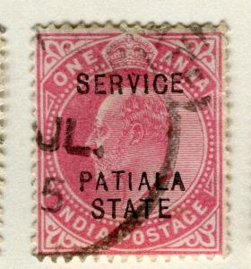 INDIA PATIALA;  1903-10 early Ed VII SERVICE Optd. issue fine used 1a. value