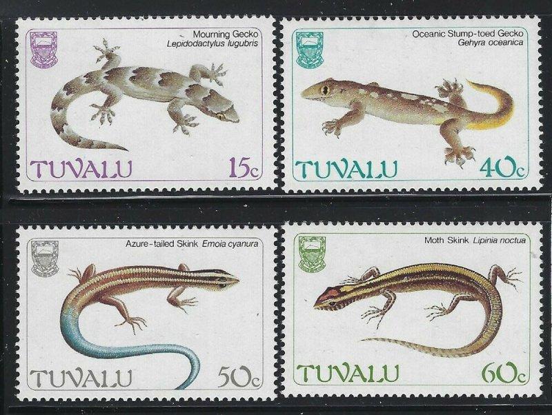 Tuvalu 1986 Geckos set Sc# 384-87 NH