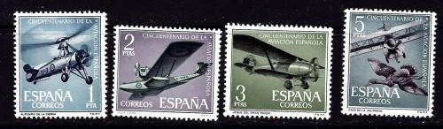 Spain 1040-43 NH 1961 partial set of aircraft