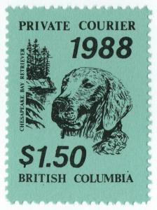 (I.B-CK) Canada Cinderella : British Columbia Private Mail $1.50 (Retriever)