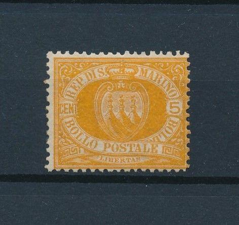 [73766] San Marino 1890 5 Cent Orange Full original Gum Light Hinged VF