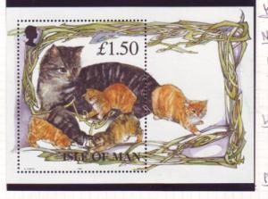 Isle of Man Sc 677 1996 Cats stamp sheet mint NH