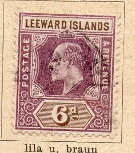 Leeward Islands 1902 Early Issue Fine Used 6d. NW-11905