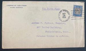 1909 Santo Domingo Dominican Republic American Legation cover to Usa