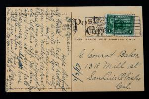 U.S. Stamp Sc# 397 Masonic Pre-Dedication- Postcard 1913 PANAMA PACIFIC EXPO.