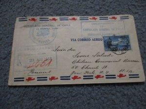 CUBA 1933 CONSULAR REGISTERED COVER