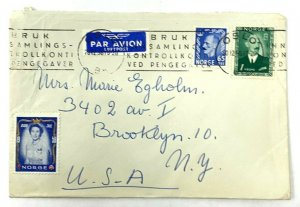 Oslo Norway > Brooklyn NY 1956 airmail covers lots of cinderella stamps