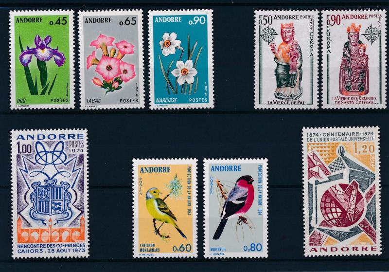 [58621] Andorra French 1974 Complete Year Set  MNH