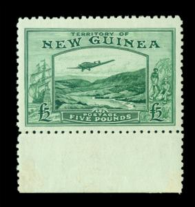 NEW GUINEA 1935 AIRMAIL - Bulolo Goldfield  £5.00 green Sc# C45 (SG205) mint MLH