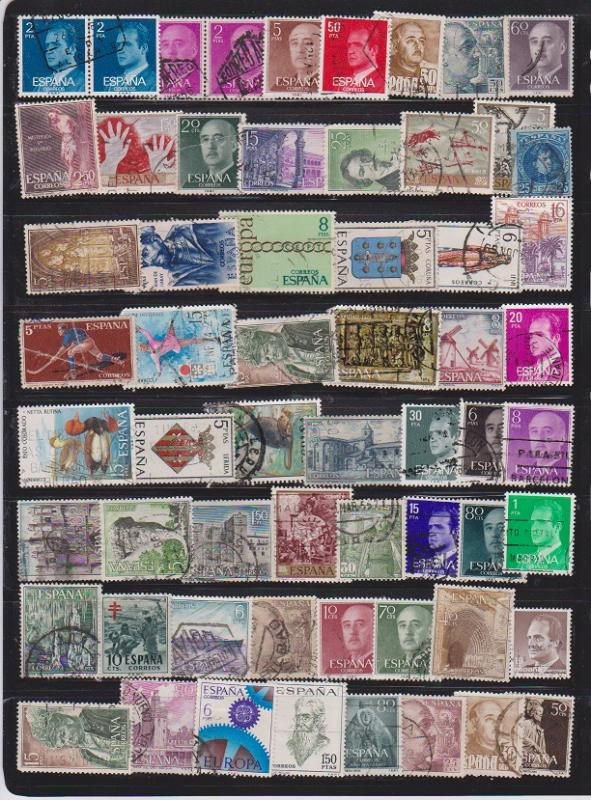 LOT OF DIFFERENT STAMPS OF SPAIN USED (60) LOT#124