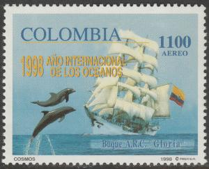 COLOMBIA C906, INTL YEAR OF THE OCEANS DOLPHINS, SHIP. MINT, NH. F-VF. (565)