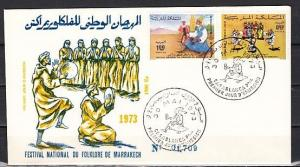 Morocco, Scott cat. 300-301. Folklore Festival issue. First day cover.