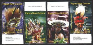 Papua New Guinea. 2008. 1327-30. Papuans in national headdresses. MNH.
