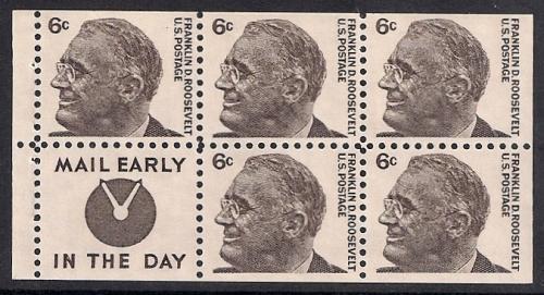 1284C 6 Cent Franklin Roosevelt Pane Mint OG NH XF HipStamp