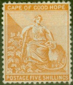 Cape of Good Hope 1896 5s Brown-Orange SG68 Fine Mtd Mint