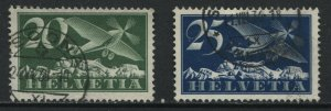 Switzerland 1933 20 and 25 centimes Airmails with grilled gum used