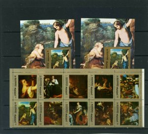 MANAMA 1972 PAINTINGS SHEET OF 10 STAMPS & 2 S/S PERF. & IMPERF. MNH
