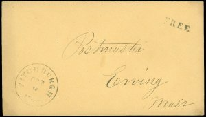 1860c Stampless FITCHBURGH, (MISSPELLED) MA CDS to ERVING, MA POSTMASTER, FREE