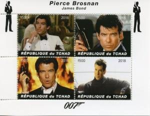Chad 2018 JAMES BOND PIERCE BROSNAN Sheet Perforated Mint (NH)