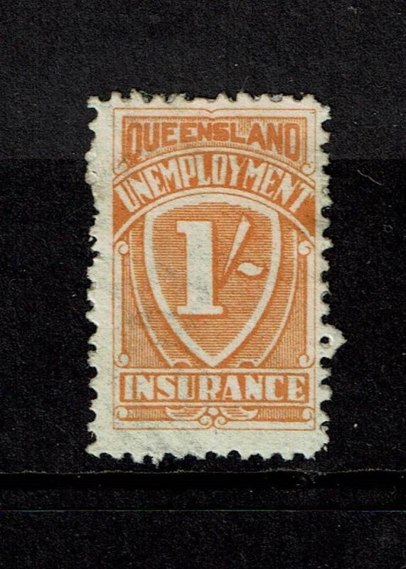 Queensland 1928 1 Shilling Unemployment Ins Stamp Used - S3999