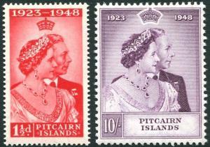PITCAIRN ISLANDS-1948 Royal Silver Wedding Set Sg 11-12 MOUNTED MINT V28061