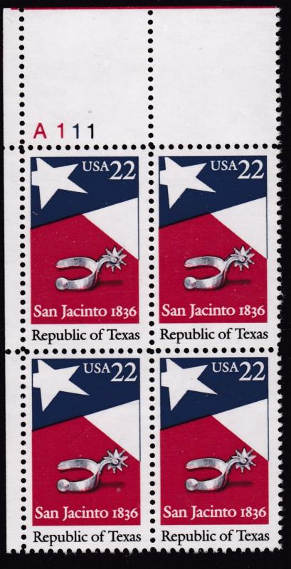 U.S. 1986 Republic of Texas Plate Number Block VF/NH