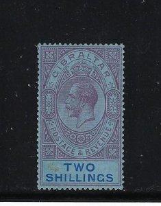 GIBRALTAR SCOTT #85 1921-32 GEORGE V 2 SHILLINGS -WMK 4 - MINT LIGHT HINGED