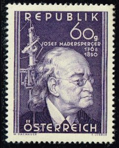 AUSTRIA STAMP 1950 The 100th Anniversary of the Death of Josef Madersperger MNH