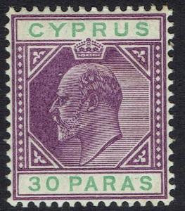 CYPRUS 1904 KEVII 30PA WMK MULTI CROWN CA