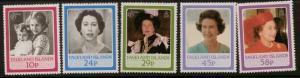 FALKLAND ISLANDS SG522/6 1986 60th BIRTHDAY OF QUEEN ELIZABETH II MNH