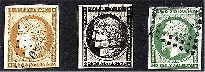 France #1, 3, & 13, F/VF  to VF, Used, All 100% Sound, SC...