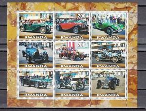 Rwanda, 2000 Cinderella issue. Antique Autos sheet of 9.