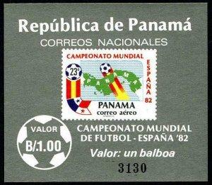 HERRICKSTAMP PANAMA Sc.# C440A Soccer Imperf Stamp Souvenir Sheet