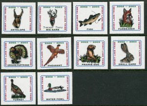 Spirit Lake Tribe Indian Reservation 2002-2003 set of 10 Hunting stamps