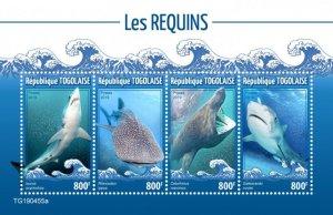 Togo Stamps 2019. - Sharks (Isurus oxyrinchus; Rhincodon typus; Cetorhinus maxim