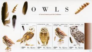 St Kitts 2015 MNH Owls of Cent American Caribbean 4v M/S I Birds Barn Owl Stamps