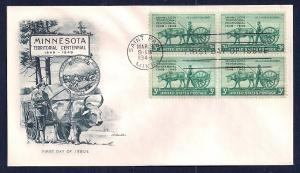 UNITED STATES FDC 3¢ Minnesota Centennial BLK 1949 Artmaster