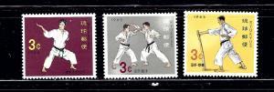 Ryukyu Is 125-27 MNH 1964-65 Self-Defense