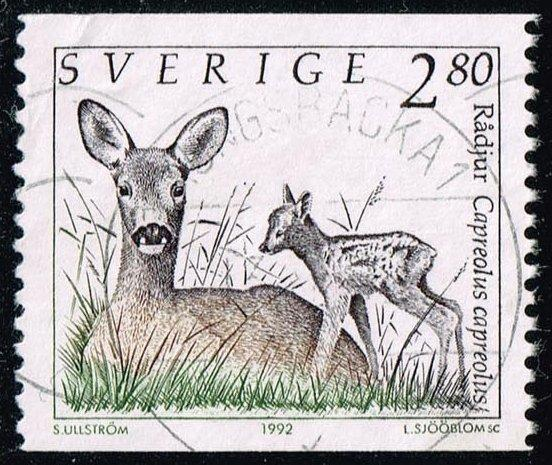 Sweden #1921 Roe Deer and Fawn; Used (0.25)