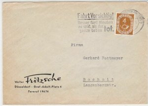 Germany 1953 Drive Carefully Slogan Posthorn Stamps Cover to Bocholt Ref 32316